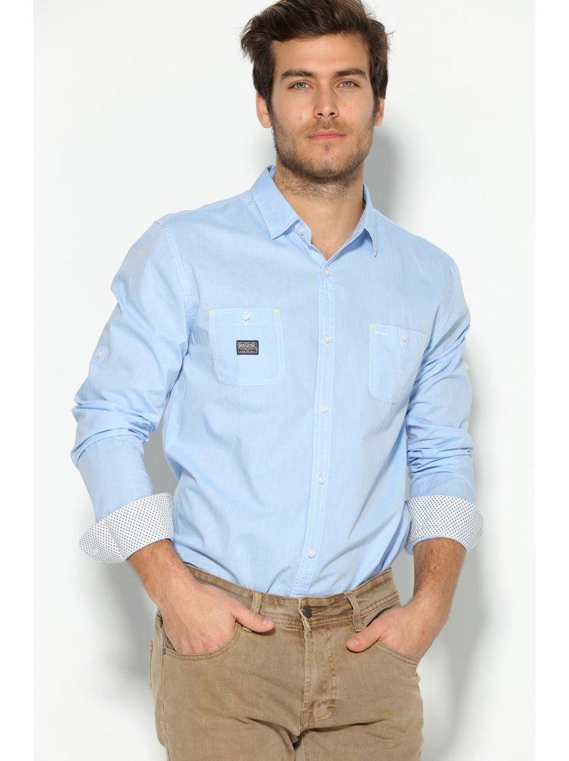 Camisa hombre con bolsillos y manga larga