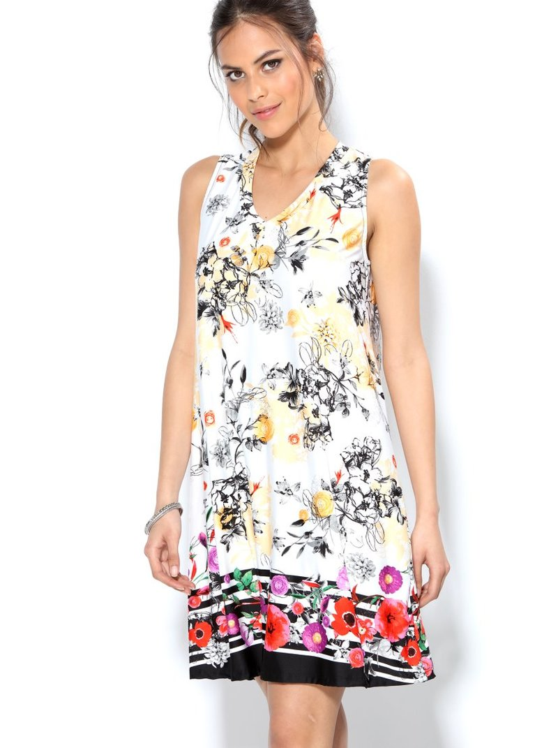 Vestido evasé de punto estampado floral con cenefa