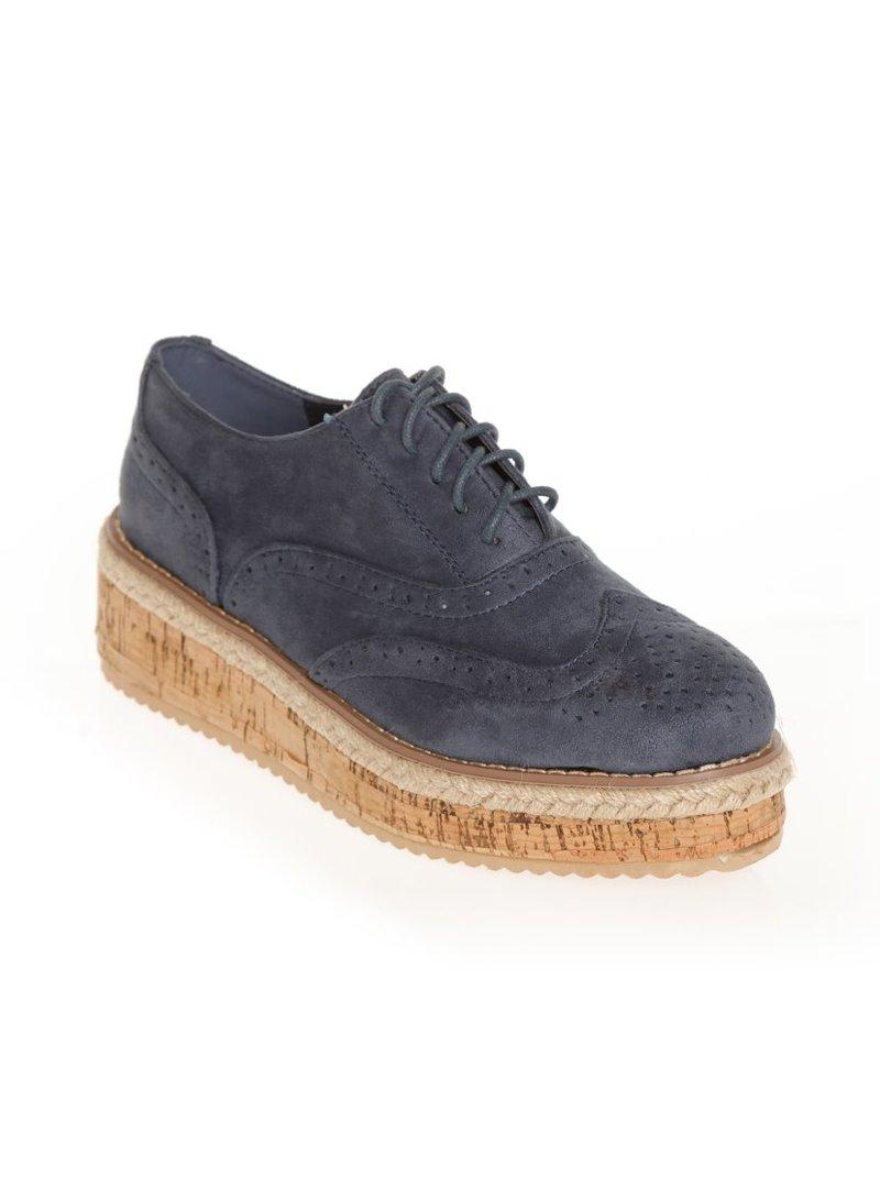Zapatos mujer tipo Oxford plataforma de esparto y corcho tac