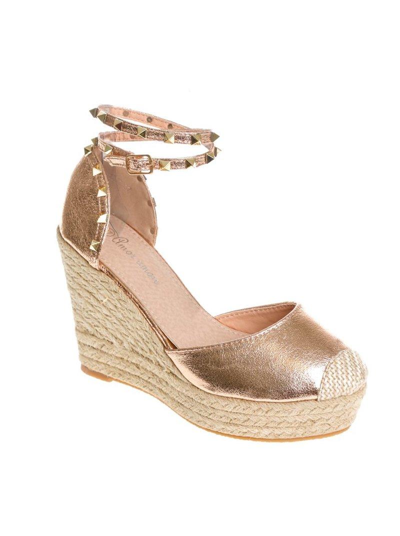 Zapatos de mujer con cuña y plataforma de esparto con tachue