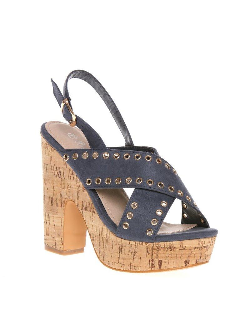 Sandalias con tacón y plataforma de corcho