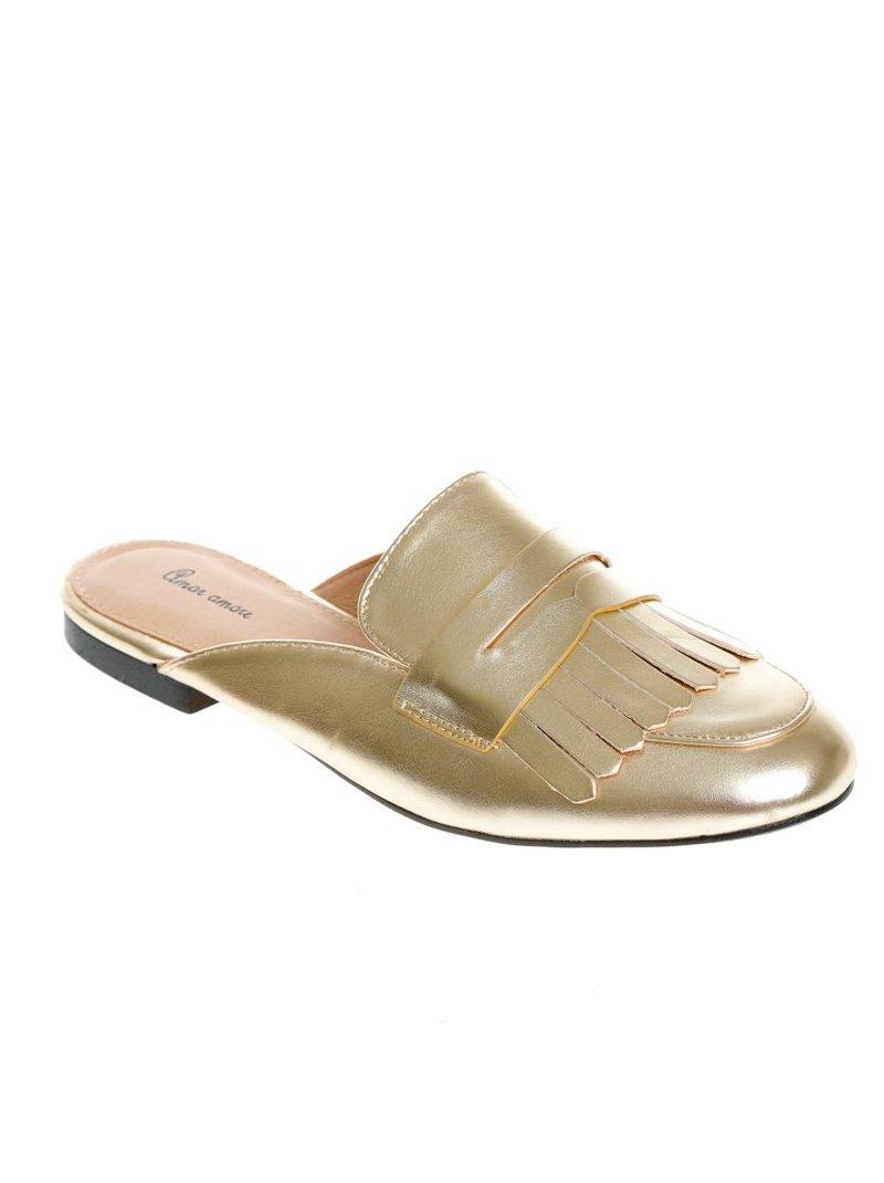 Zapatos planos mujer tipo mocasín talón al descubierto