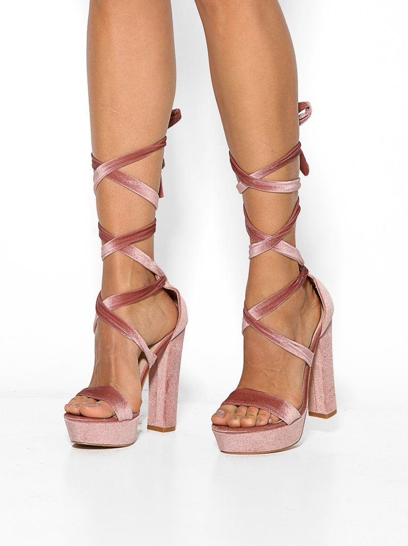 Sandalias de fiesta con plataforma y tacón alto de terciopel