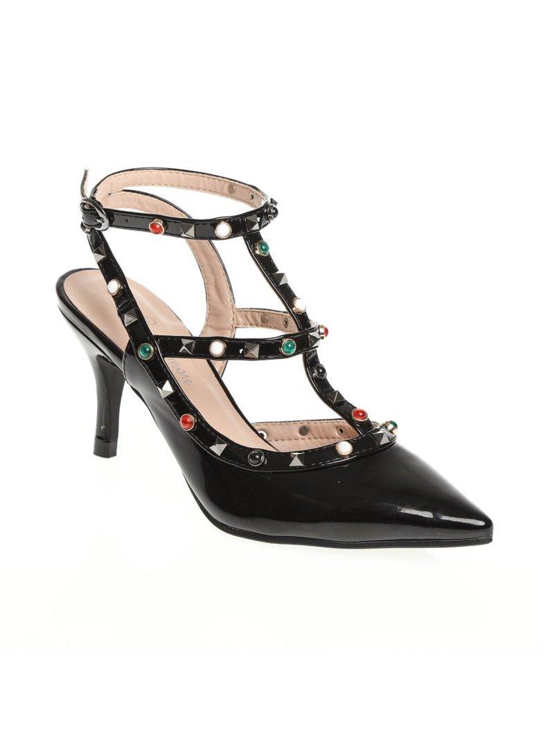 Zapatos de tacón con puntera afilada y aplicaciones acabado