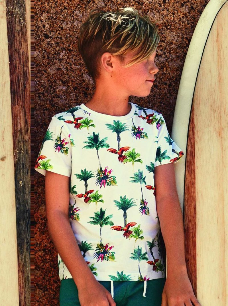Camiseta niño estampado tropical algodón