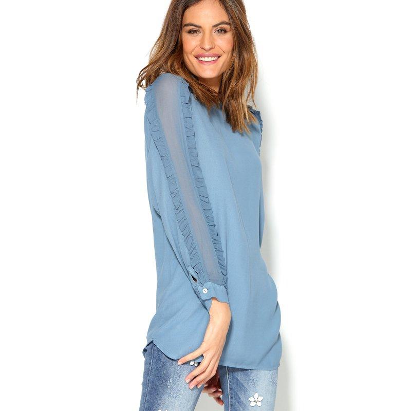 Blusa de mujer con manga larga semitransparente