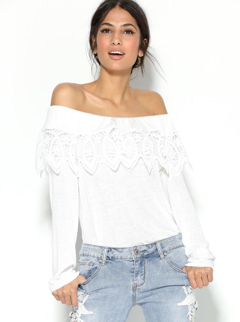 Blusa mujer manga larga con escote elástico y volante con gu