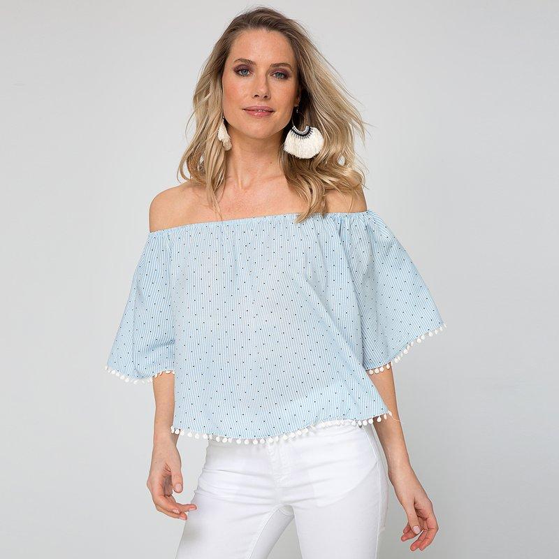 Blusa mini raya y topos con escote redondo elástico