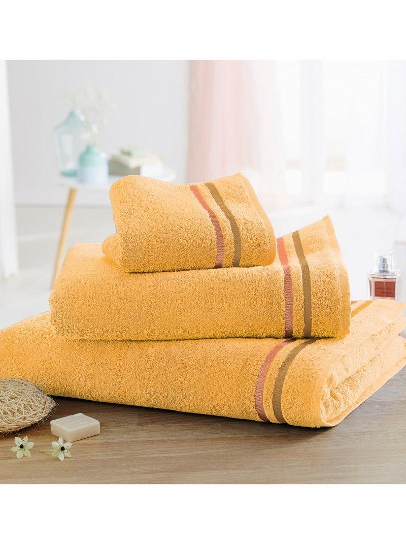 Lote 3 toallas con cenefa en rizo 100% algodón