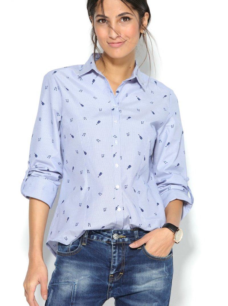 Camisa manga larga con estampado musical de mujer