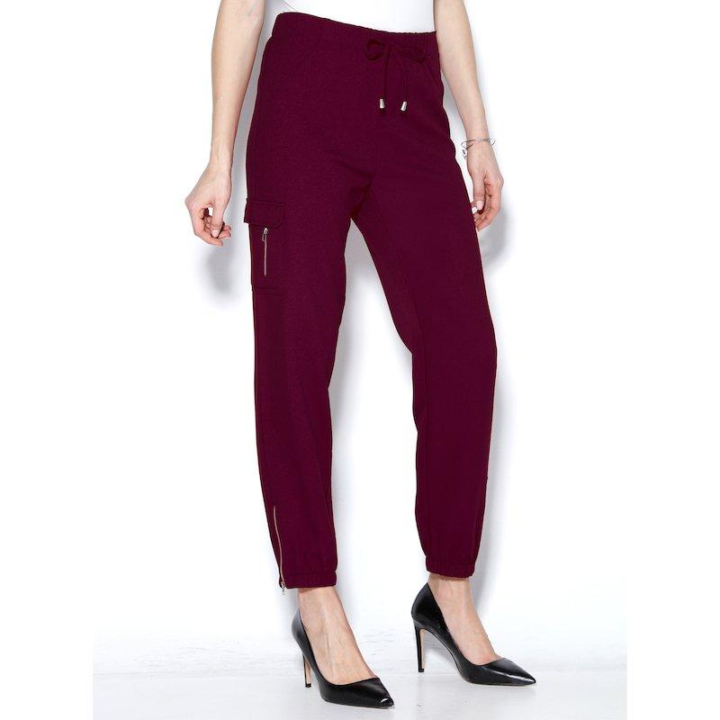 Pantalón largo mujer con cremalleras y puños elásticos