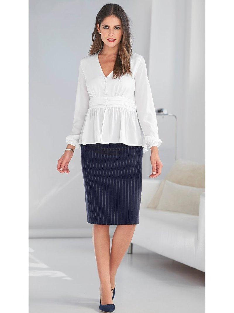 Falda rayas corte pincel con pinzas