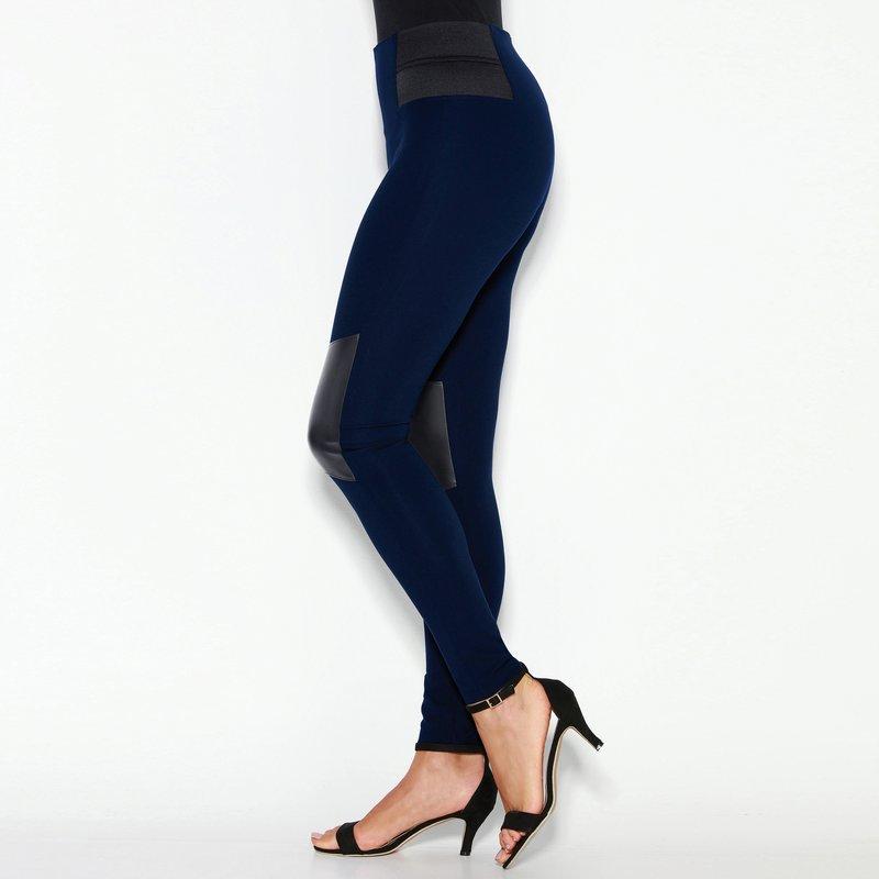 Pantalón largo tregging con piezas símil piel