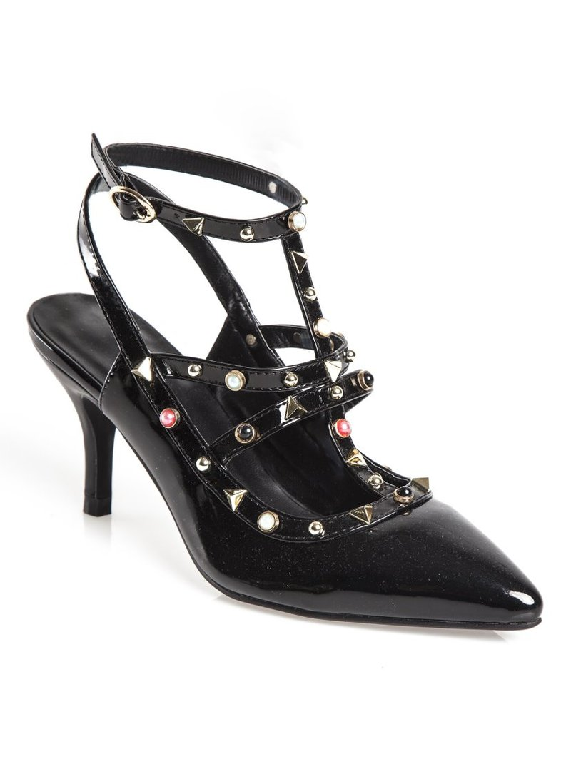 Zapatos puntera con abalorios multicolores