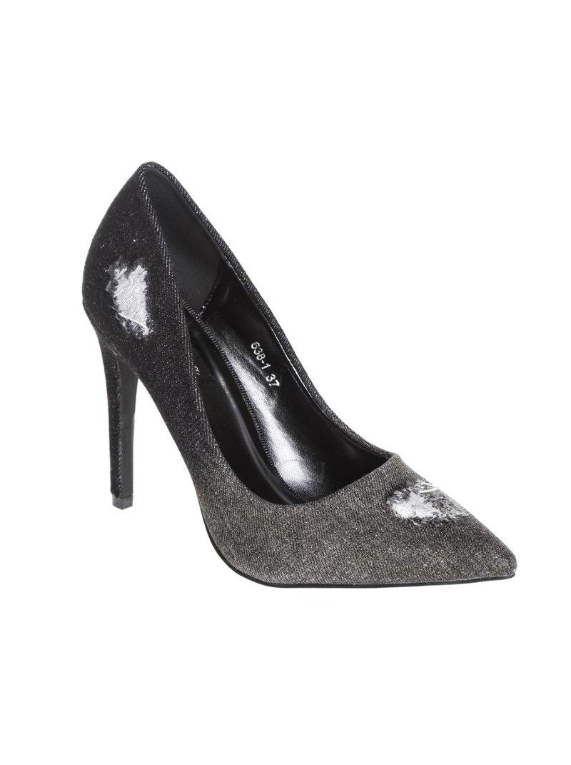 Zapatos corte salón con puntera afilada en tejido vaquero de