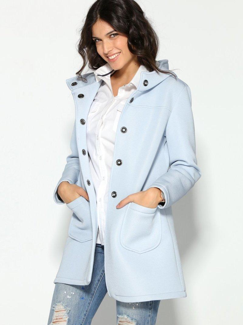 Abrigo mujer en tejido neopreno con capucha y bolsillos
