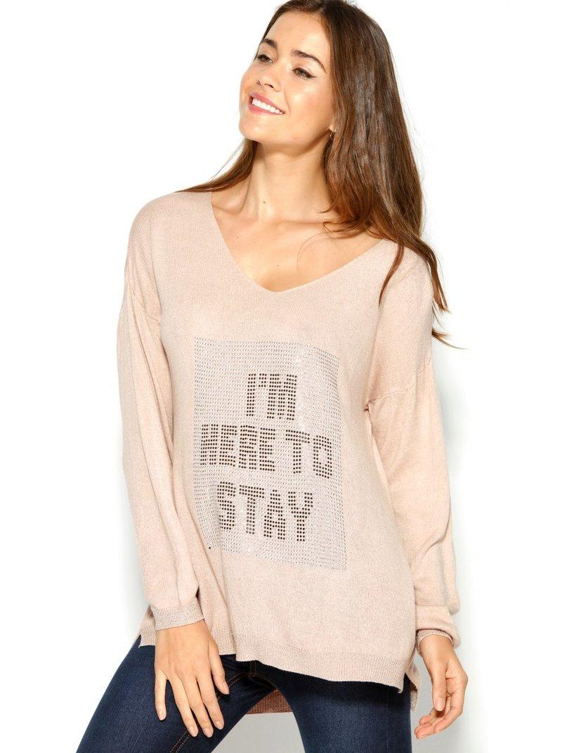 Jersey suave tricot con strass canalé metalizado