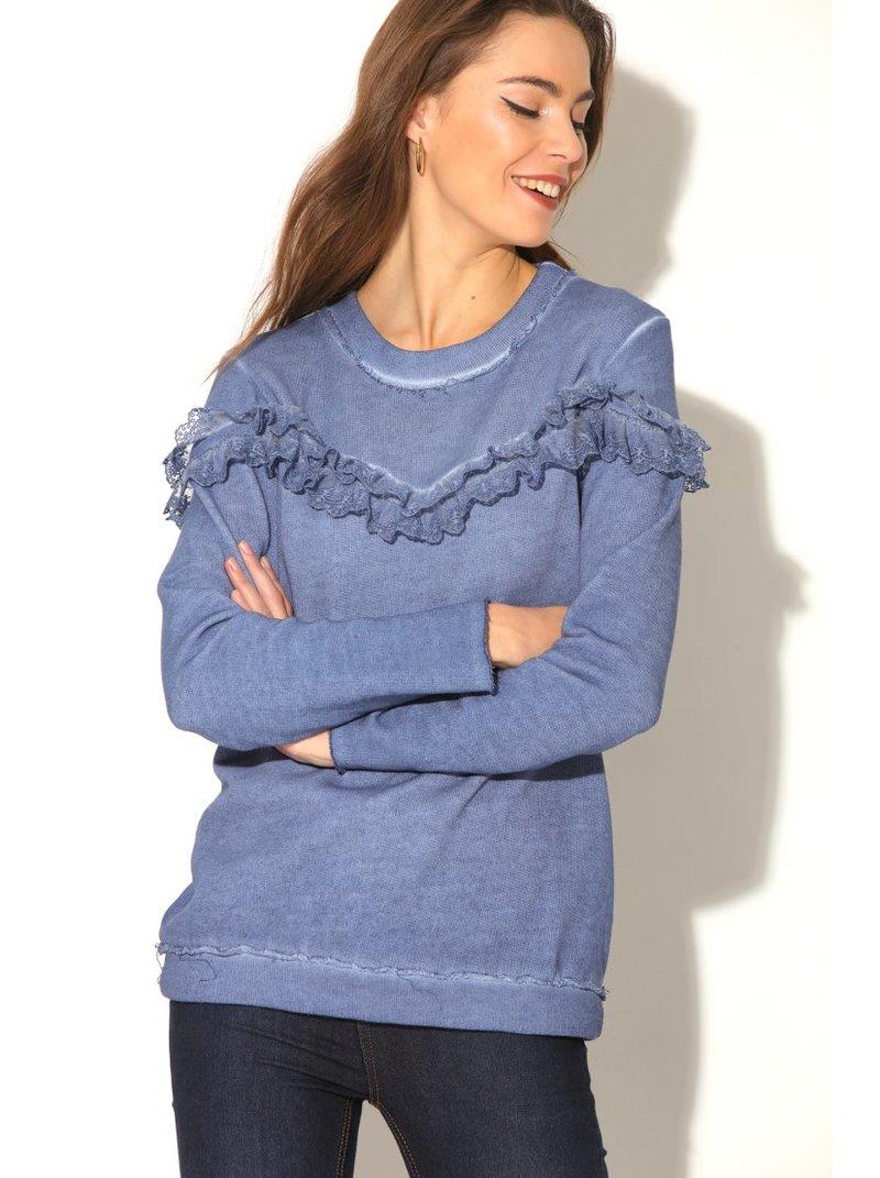 Sudadera felpa mujer manga larga con volantes de tul