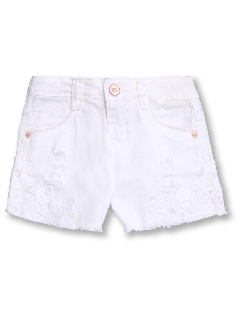 Pantalón corto niña 5 bolsillos con aplicaciones
