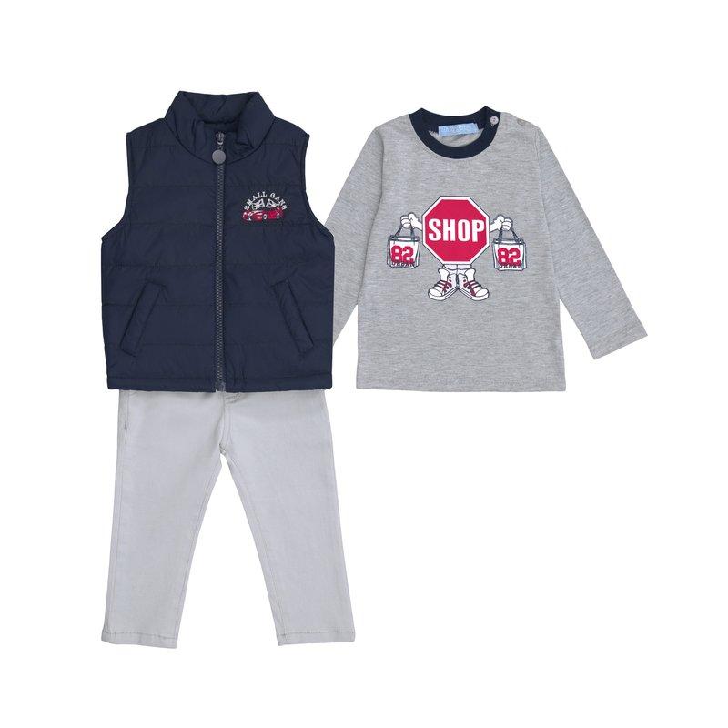Conjunto sport niño chaleco camiseta y pantalón