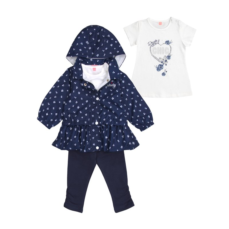 Conjunto niña chaqueta camiseta y legging