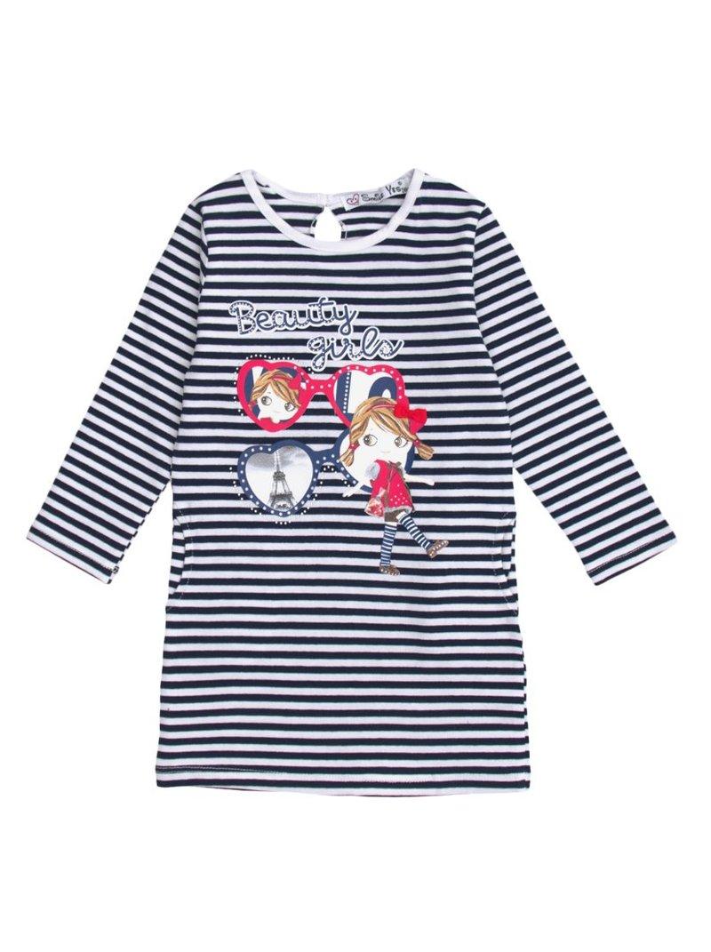Vestido de punto rayas niña con aplicaciones