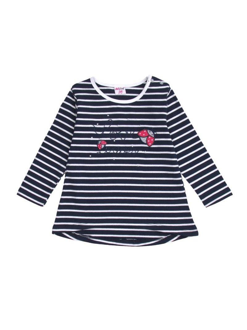 Camiseta niña manga larga rayas con bordado