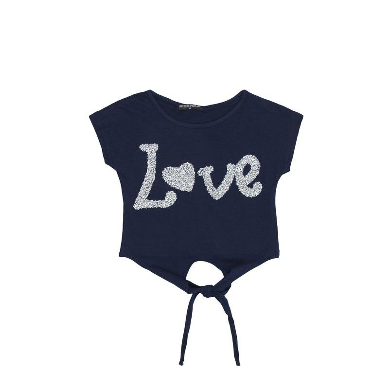 Camiseta niña con tiras y diseño de pedrería LOVE