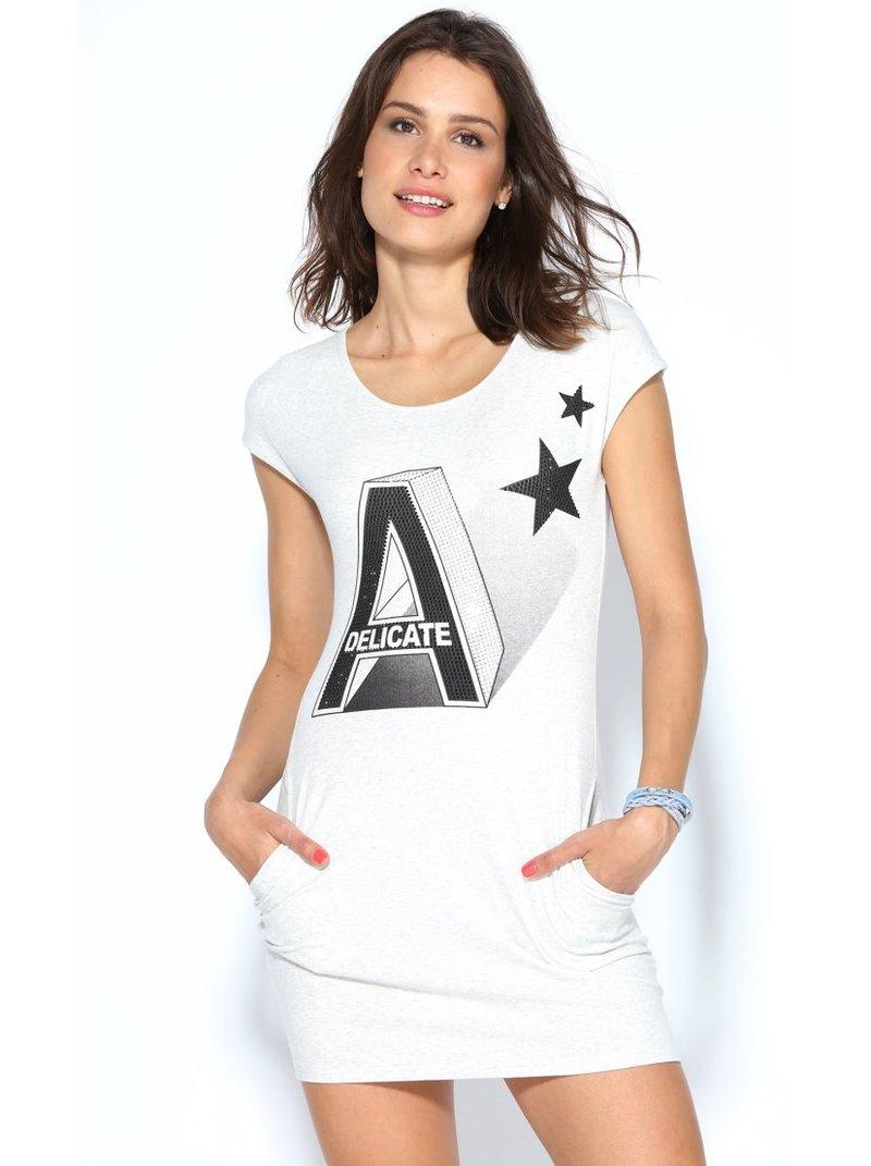 Vestido elástico mini manga estampado con letras