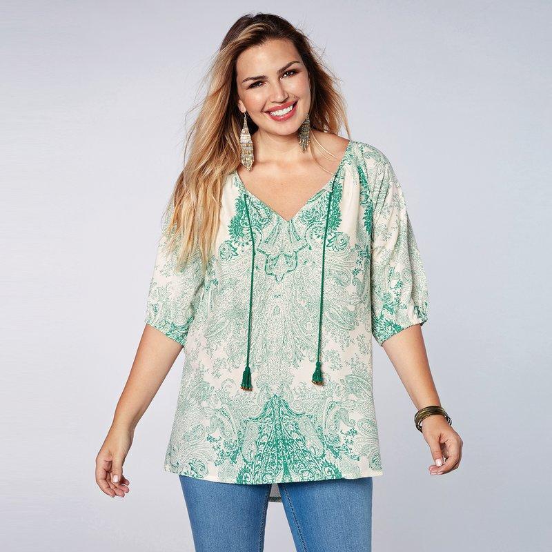 Blusa caftán con estampado de inspiración oriental
