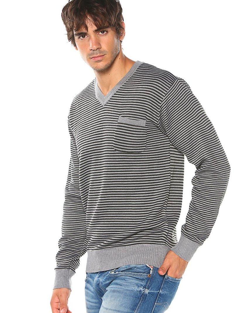 Jersey tricot de hombre rayas con escote V