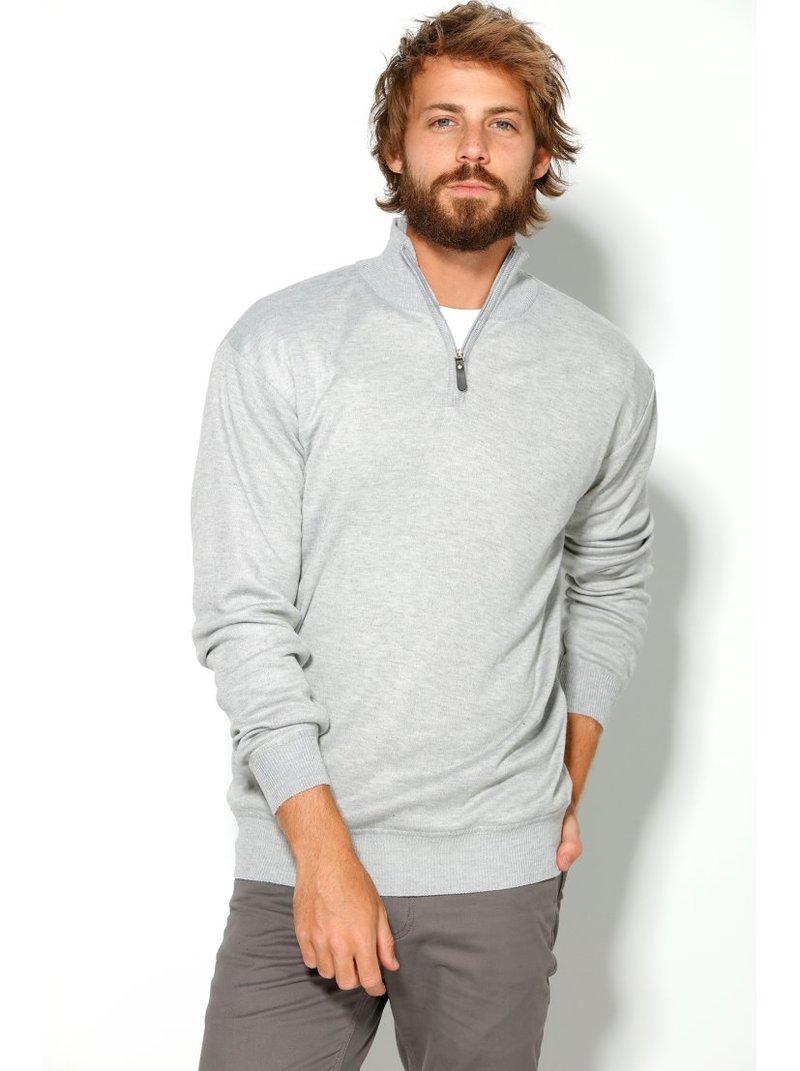 Jersey tricot de hombre de cuello cisne con cremallera