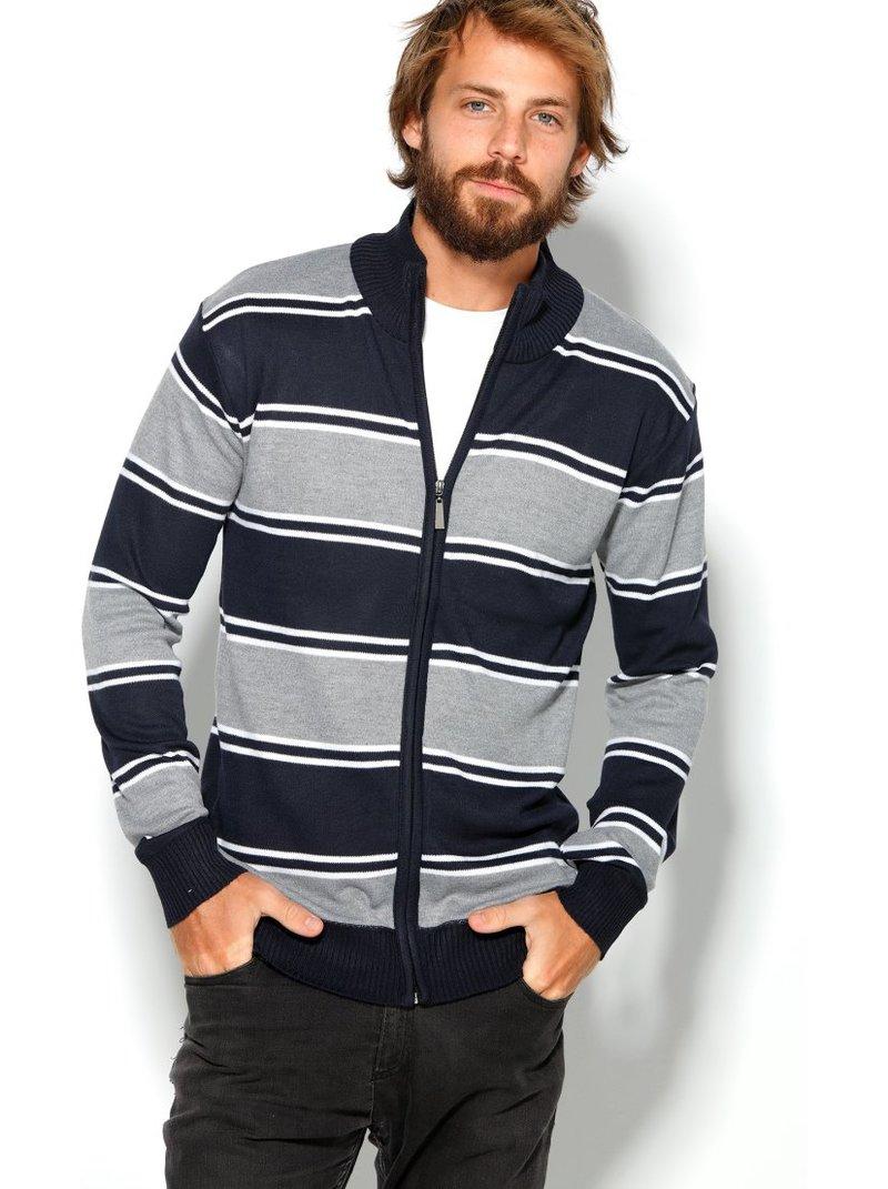Chaqueta de hombre tricotada a rayas con cremallera