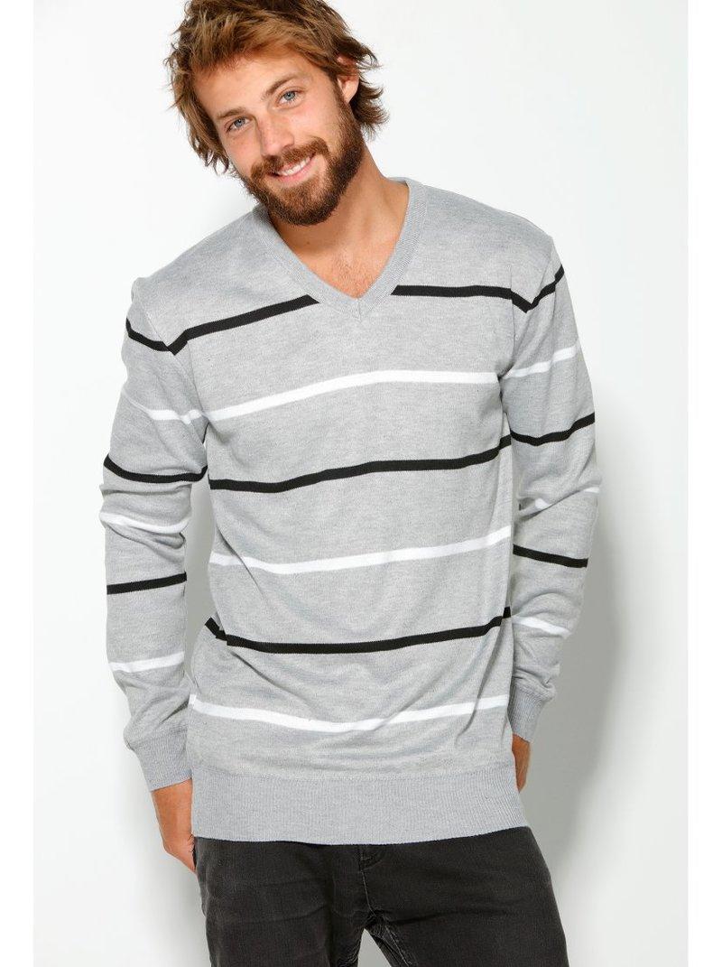 Jersey de hombre con escote V tricotado de rayas