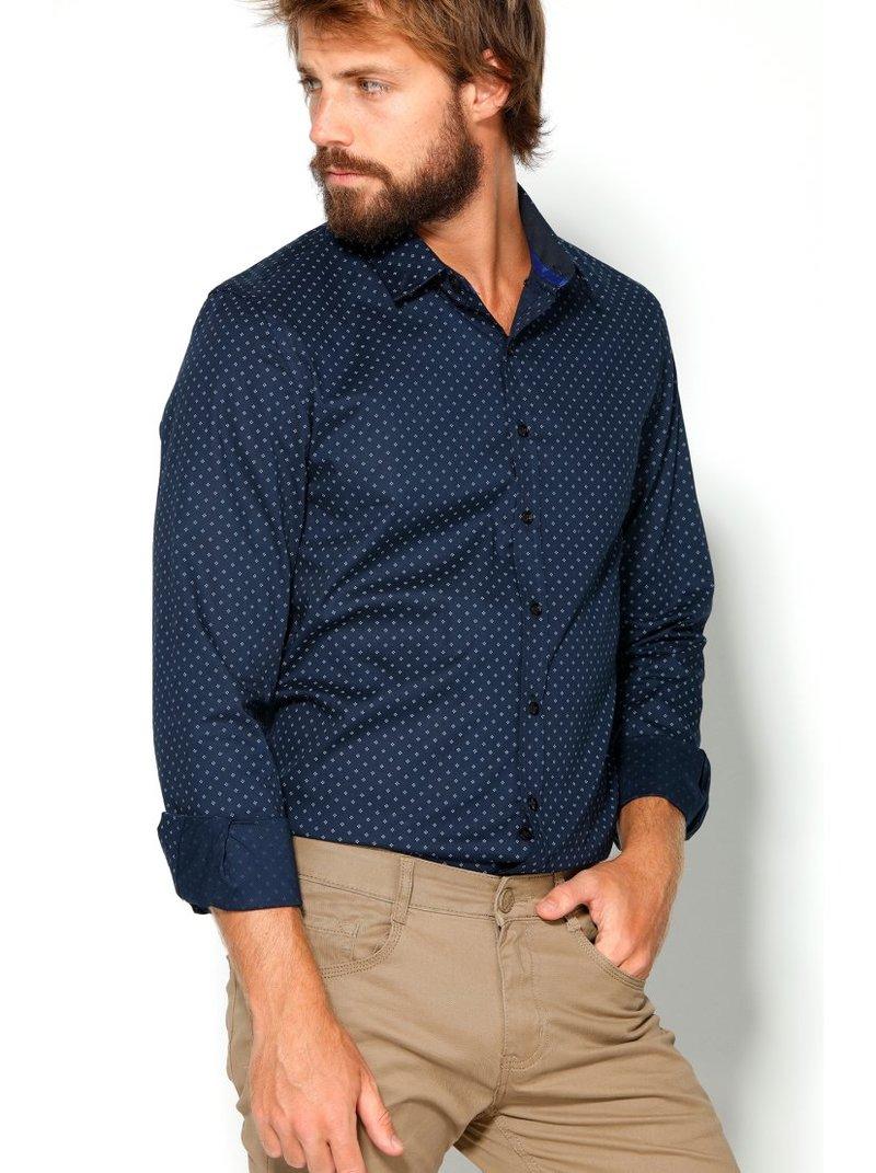 Camisa de vestir para hombre marino estampada