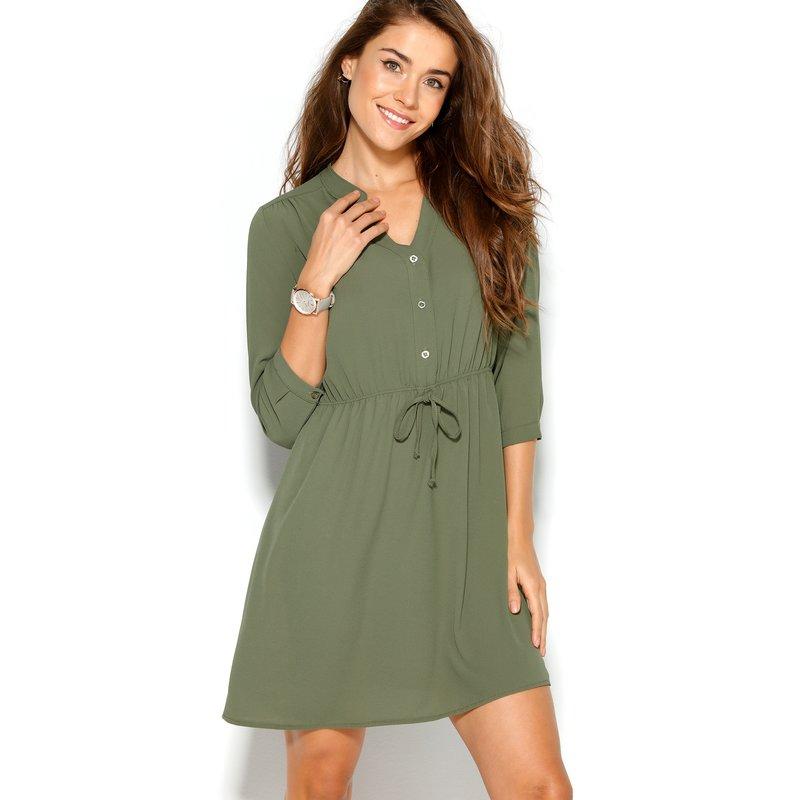 Vestido corto mujer manga 3/4 con cintura elástica