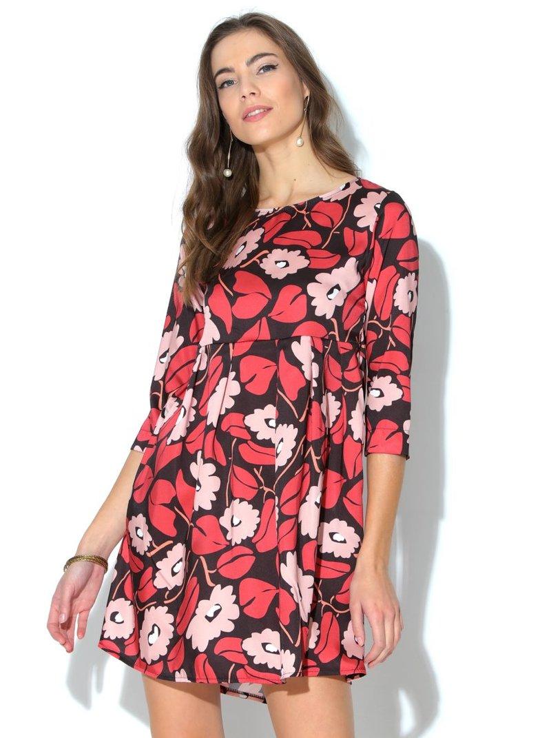 Vestido mujer manga 3/4 flores satinado con tablas