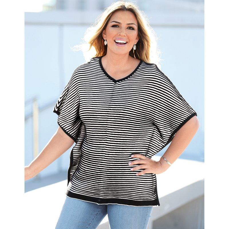 Jersey tricot poncho de rayas tallas grandes