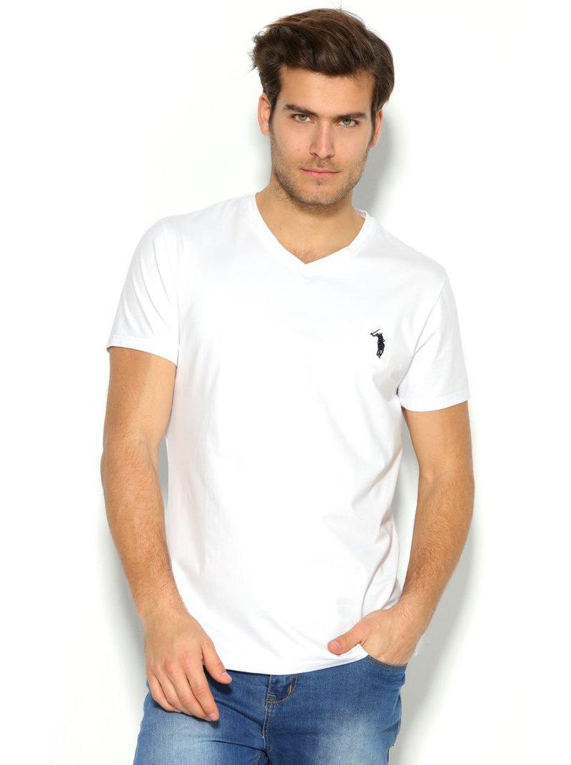 Camiseta de hombre escote V motivo bordado en el pecho