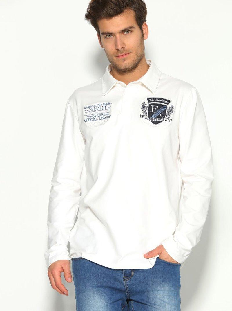 Camiseta polo hombre con aplicaciones bordadas
