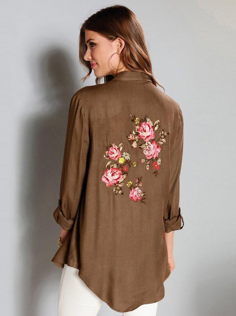 Camisa de manga larga con bordado floral