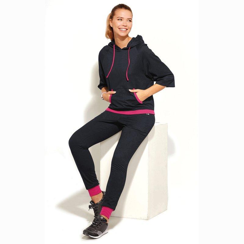 Pantalón deporte mujer con puños a contraste de felpa