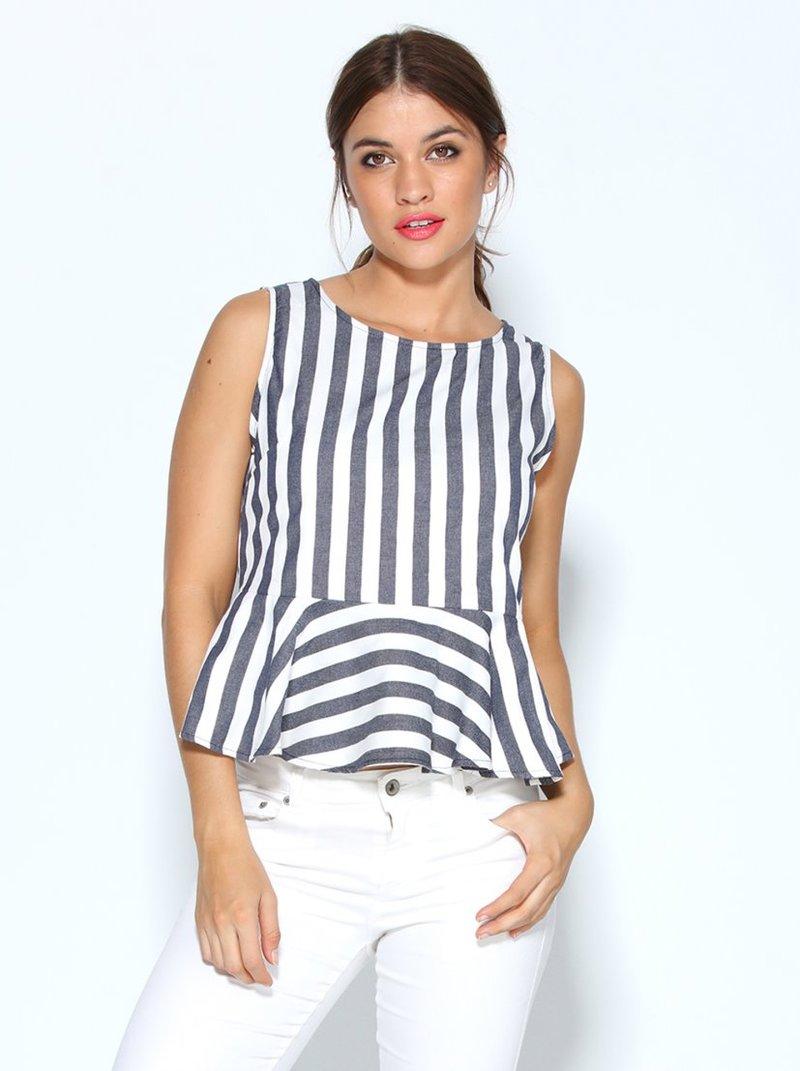 Blusa top tejido rayas verticales con amplio volante capa en