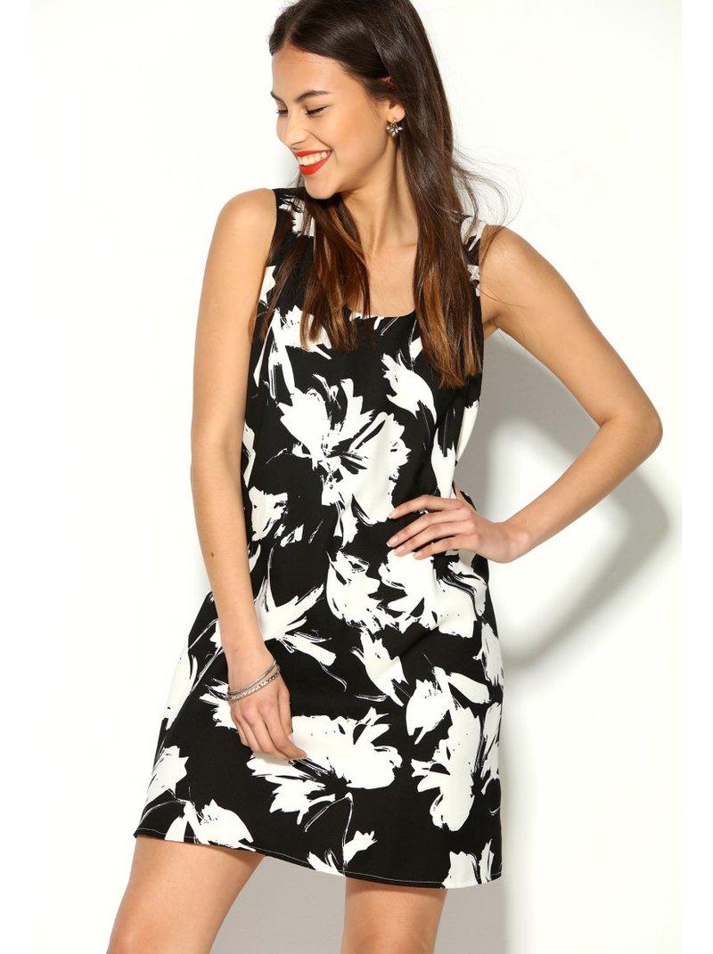 Vestido bicolor evasé con flores estampadas