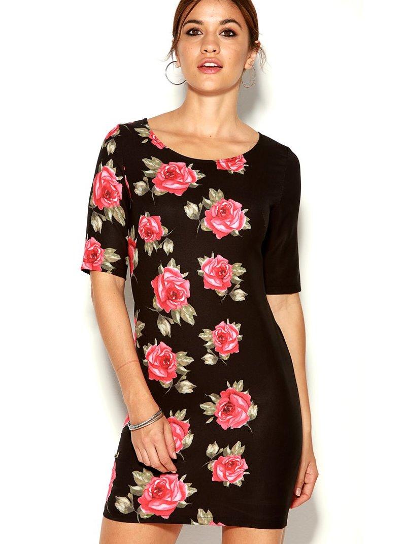 Vestido corto elástico mujer manga corta floral