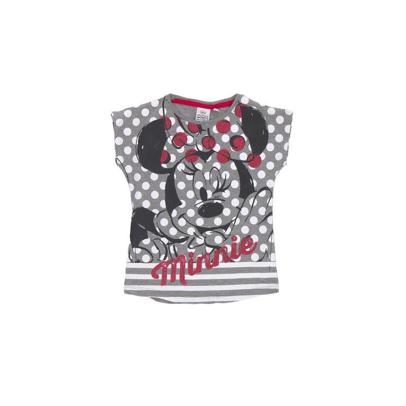 Camiseta de niña  Minnie Mouse con minimanga