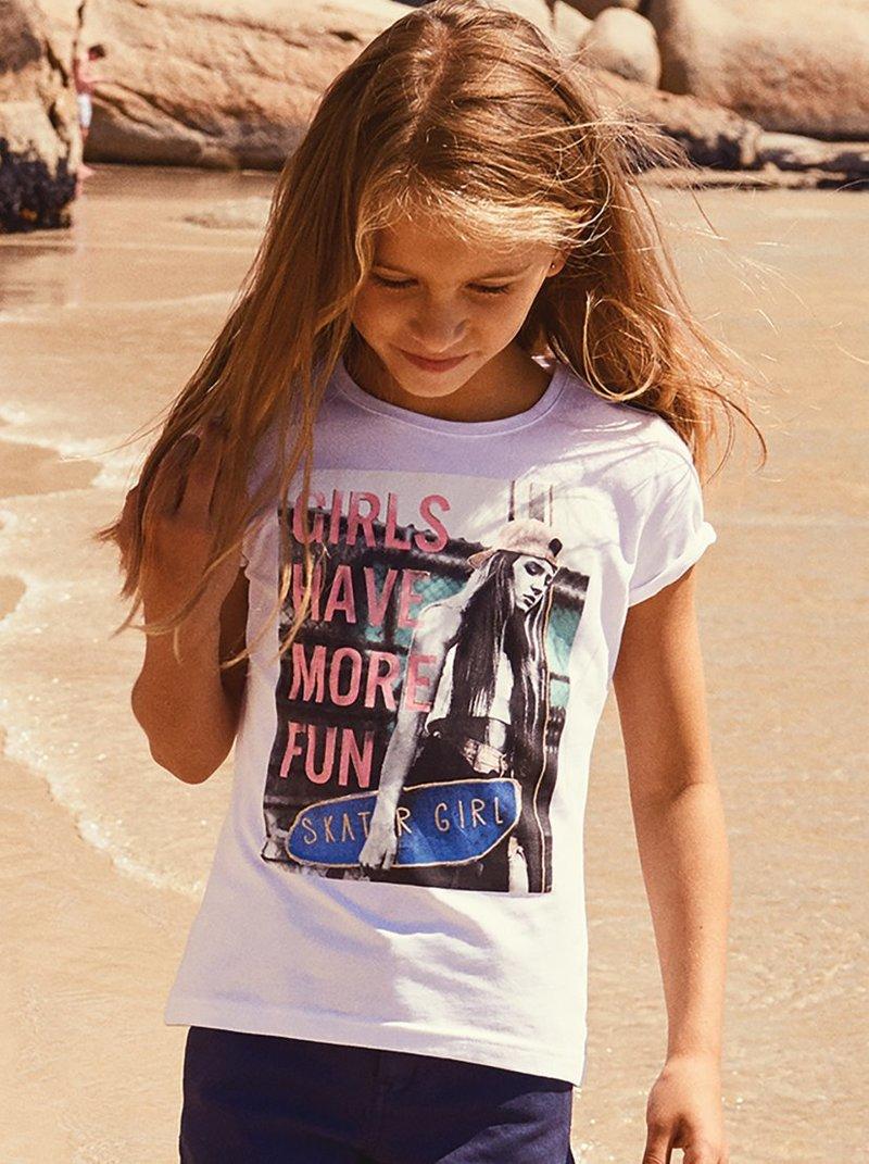 Camiseta en algodón bio estampado niña