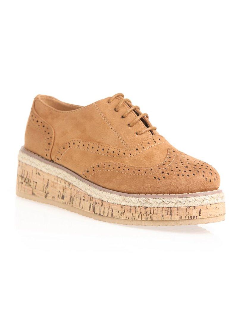 Zapatos planos Oxford con plataforma de corcho