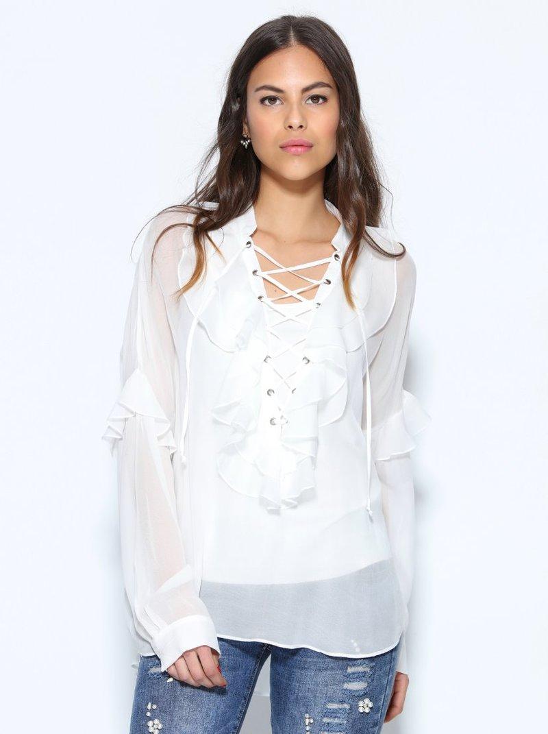 Blusa con chorreras semitransparente top interior