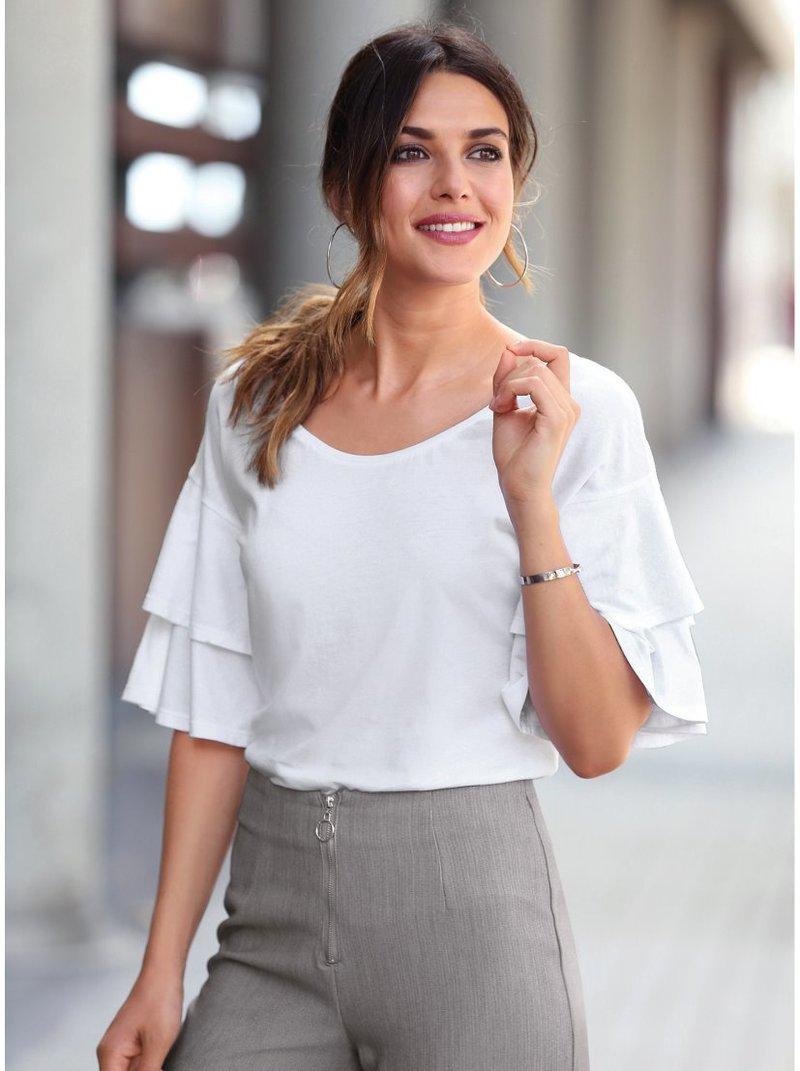 Camiseta de manga corta con volantes mujer